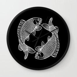 Black White Koi Wall Clock