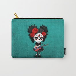 Day of the Dead Girl Playing Slovakian Flag Guitar Carry-All Pouch