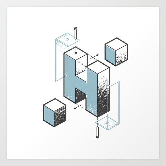 The Exploded Alphabet / H Art Print