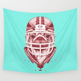 American Pug Football Red Wall Tapestry