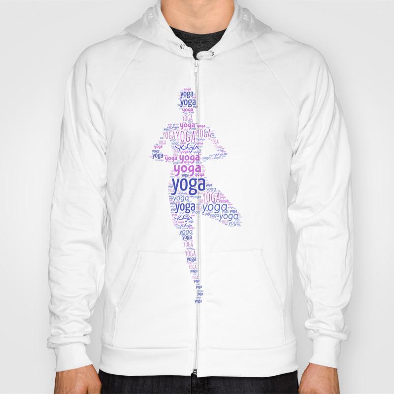 Yoga Pattern Around Asana In Gold And Purple Hoody by K9printart SSR8451196
