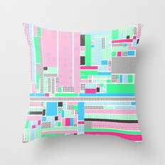 Pink, Blue & Green Throw Pillow