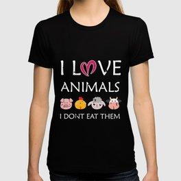 I Love Animals product | veggie going vegan tee gift T-shirt