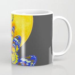 SURREAL BLUE BUTTERFLIES RISING GOLDEN MOON Coffee Mug