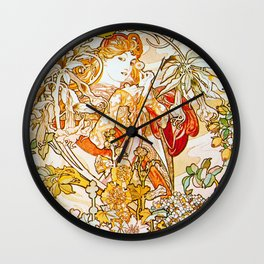 Alphonse Mucha - Woman with Daisy Wall Clock