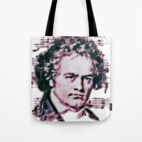 beethoven Tote Bags featuring Beethoven by Zandonai