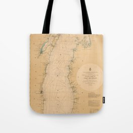 Map of Lake Michigan 1898 Tote Bag