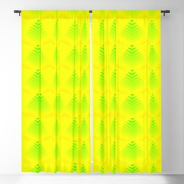Mother of pearl pattern of melon hearts and stripes on a yellow background. Blackout Curtain