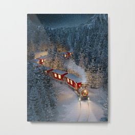 Christmas night - Amazing cute christmas train goes through fantastic winter forest in north pole. Metal Print