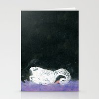 black swan Stationery Cards featuring Swan by YAZZIK
