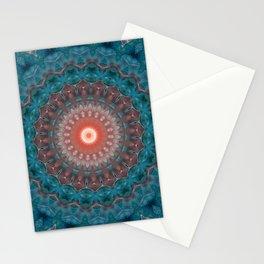 Blue orange , mandala Stationery Cards