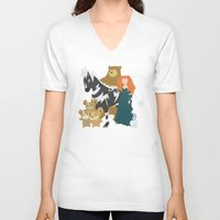 merida V-neck T-shirts featuring Team Merida by Citron Vert