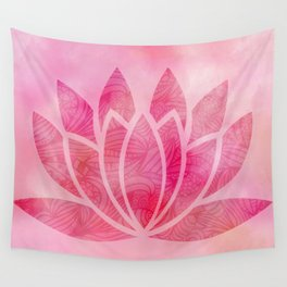 Zen Watercolor Lotus Flower Yoga Symbol Wall Tapestry