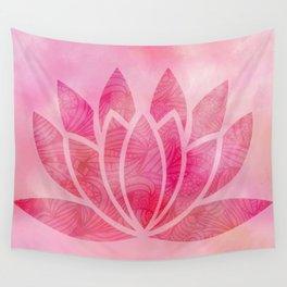 Zen Watercolor Lotus Flower Yoga Symbol Wall Tapestry