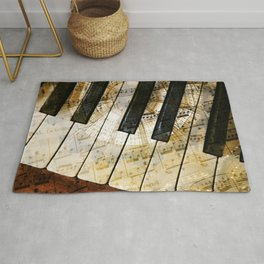 Piano Keys Music Collage abstract Rug
