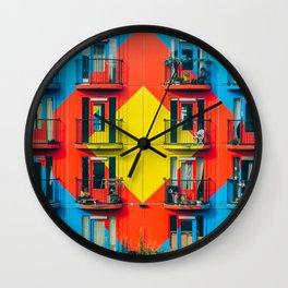 APARTMENTS - BLUE - RED - YELLOW - BALCONIES - PHOTOGRAPHY Wall Clock