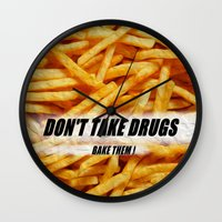 french fries Wall Clocks featuring French Fries by Ispas Sorin