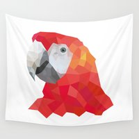 polygon Wall Tapestries featuring Polygon parrot by IDASV Design