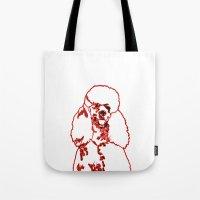 poodle Tote Bags featuring Poodle by Mike van der Hoorn