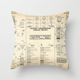 COCKTAIL CHART OLD Throw Pillow