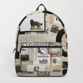 Black and White Vintage Ephemera Collage Backpack