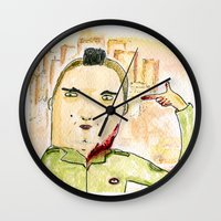 taxi driver Wall Clocks featuring Taxi Driver by Dobleu
