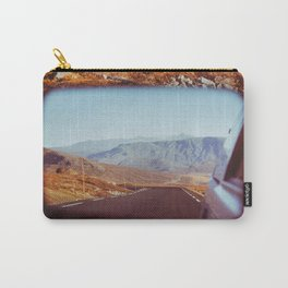 Road Tripping in Scandinavia - Road in Jotunheimen NP Through Rear Mirror Carry-All Pouch