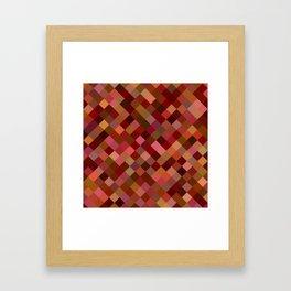 Autumn Colored Squares Orange Framed Art Print