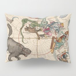 Pictorial Celestial Map with Constellations Ursa Major and Ursa Minor Pillow Sham