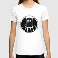 agents of shield T-shirts featuring Agents of TARDIS black and white Agents of Shield, Doctor Who mash up by Whimsy and Nonsense