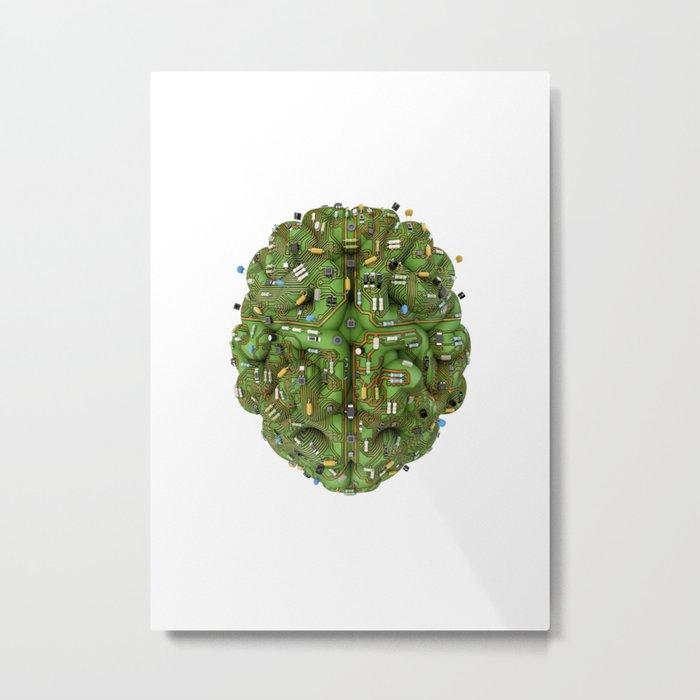 Circuit brain Metal Print