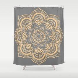 Mandala Flower Gray & Peach Shower Curtain