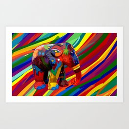 Full Color Abstract Elephant Art Print
