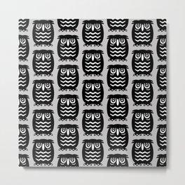 Mid Century Owl Pattern Grey 22 Metal Print