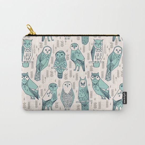 Parliament of Owls - Pale Turquoise by Andrea Lauren Carry-All Pouch