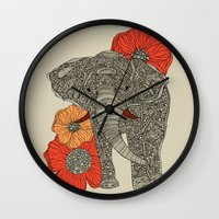line Wall Clocks featuring The Elephant by Valentina Harper