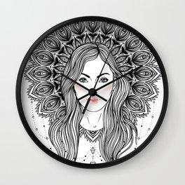 Tribal Fusion Boho Diva. Beautiful divine girl, mandala-shaped halo, native American Indian feathers Wall Clock