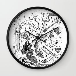 Tattoo Flash Sheet Wall Clock