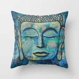 Blue Zen Buddha Throw Pillow