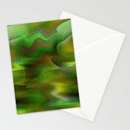 Waves of Abstraction (olive-apple-avocado green) Stationery Cards