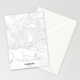 Hamburg, Germany Minimalist Map Stationery Cards