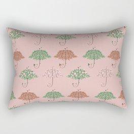 Blooming Umbrella Shape Tree Rectangular Pillow