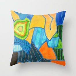 Geometric Complex Pattern with Stripes and Color Gradient Throw Pillow