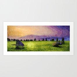 Sunrise at Castlerigg Stone Circle, Keswick, Lake District, Uk. Watercolour Painting Art Print