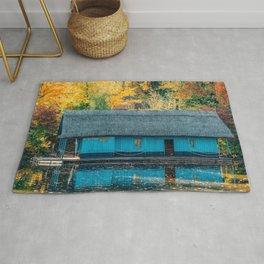 Lake House, Home Sweet Home, Fall Landscape, Lonely Home, Colorful Trees, Autumn Season, Wall Art Rug