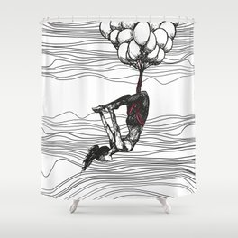 surreal aerial yoga scene // black, white, pink Shower Curtain