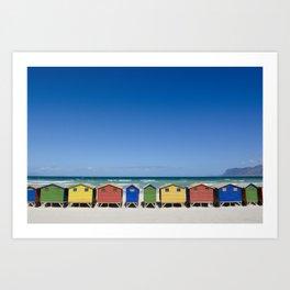 Muizenberg Cabanas, South Africa Art Print