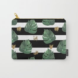 Tropical leaves pattern on stripes background Carry-All Pouch