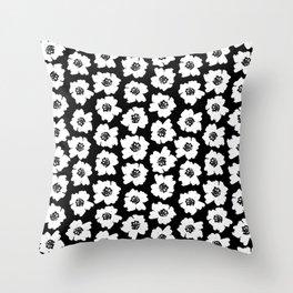 Linocut botanical nature floral flower art nursery black and white decor newborn Throw Pillow
