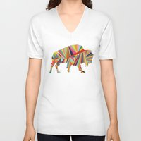 buffalo V-neck T-shirts featuring Buffalo by Alex Dehoff